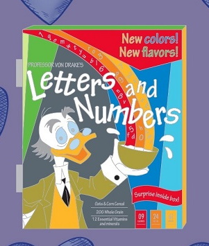 Professor Ludwig Von Drake Letters and Numbers Cereal Box Disney Pin