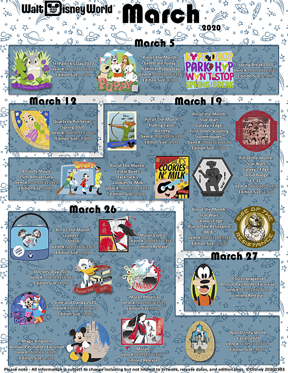 March 2020 Limited Edition Disney Pin Releases